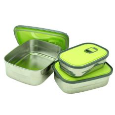 Marco Rectangle S/S Set 350, 680, & 1100 Ml Food Container/ Tempat Makan - Free Marco Hole Knife