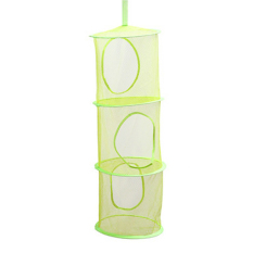 MC 3 Tier Mesh Hanging Storage Basket Hanging Network Storage Cage Storage Compartments Collapsible Bra Storage Cage Nest (Green) - Intl