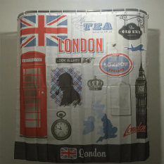 MC Booth Big Ben Clock Family Bathroom Shower Curtain Simple Polyester Ring Pull Easy To Install (180x200cm) - Intl