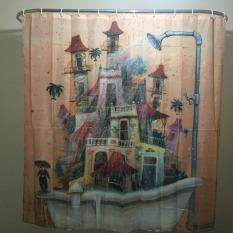 MC Cartoon Home Decor Shower Curtain House Tub Design Bathroom Waterproof Polyester Bathroom Curtain With 12 Hooks - Intl