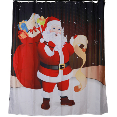 MC Fashion 3D Merry Christmas With Santa Claus Polyester Bathroom Shower Curtain Waterproof Red - Intl