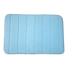 Memory Foam Bath Mats Bathroom Horizontal Stripes Rug Non-slip Blue (Intl)