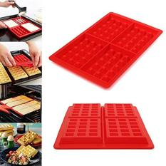 Mingjue 4-Cavity Waffle Baking Molds DIY Mini Waffles Cake Chocolate Pan Silicone Tray Mold Muffin Mould Tool, Red