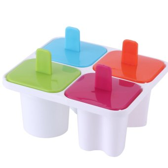 Mini 4 Slow Yogurt Ice-cream Pop Mold Popsicle Freezer Maker SummerDIY Tool Set - intl