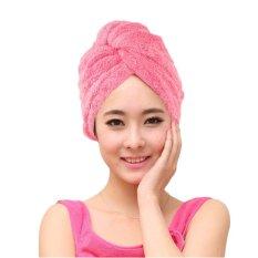 Moonar Microfiber Towel Quick Dry Hair Magic Drying Turban Wrap Hat Caps Spa Bathing Pink