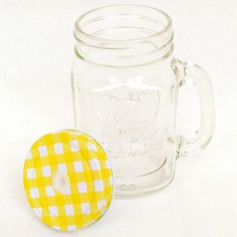 Mug Jar With Straw Hole - Kuning