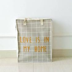 Multifunction Cotton Linen Foldable Storage Bags Waterproof Clothes Storage Basket Handbag Shopping Bags (Grey) 36 X 6 X 46CM - Intl