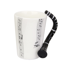 BolehDeals Music Mug with Clarinet Shaped Handle Porcelain Cup Music Note (Intl)