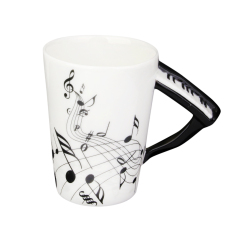 BolehDeals Music Mug with Piano Shaped Handle Porcelain Cup Black Note (Intl)