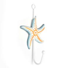 Nautical Decor Vintage Coat Bag Bath Towel Hook Holder Door Wall Mounted Hanger Orange Starfish - Intl