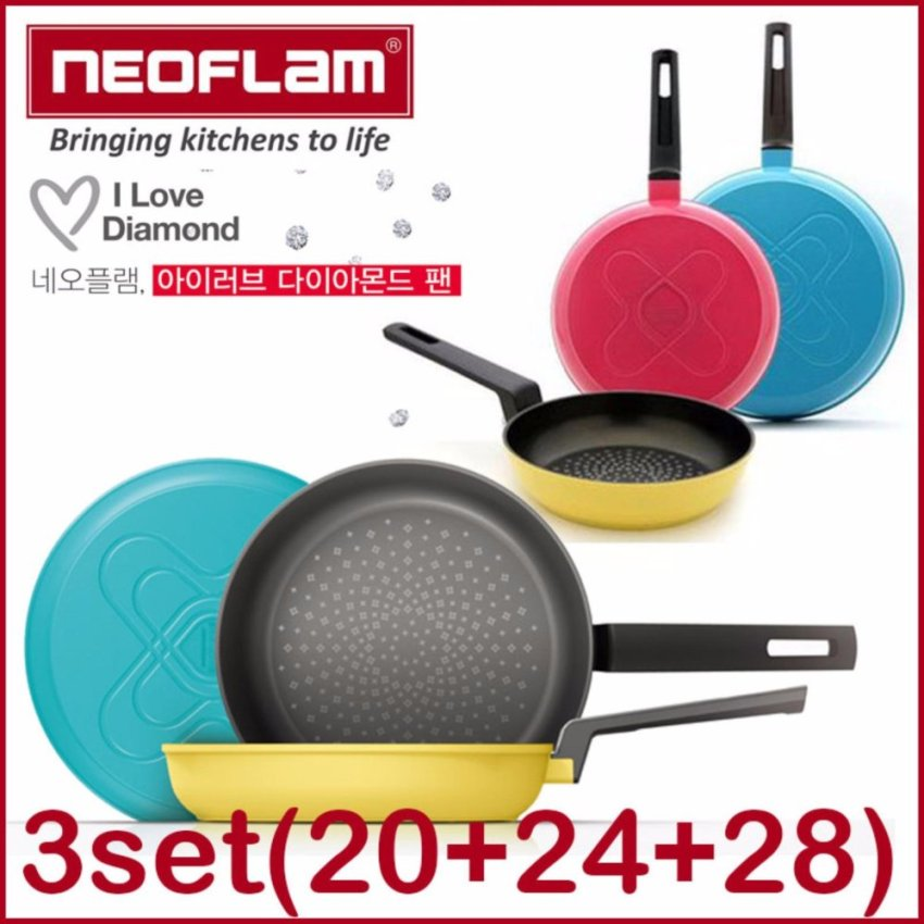 NeoFlam Korea FDA Approved i Love Diamond Frying Pan 3 Set 20 24 28 cm - intl