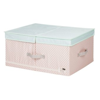 New Art Design Wommen' Fashion Cosmetic Clothing Storage Box Double Barrier Double Cover Beauty Case Boxes For Home -Beige48x36x18cm