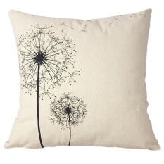 New Cotton Retro Simple Linen Pillow Case Sofa Home Throw Square Cushion Cover [Dandelion]