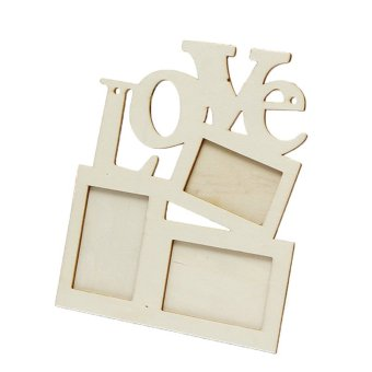 New Durable Lovely Hollow Love Wooden Photo Picture Frame Rahmen DIY Home Decor - intl