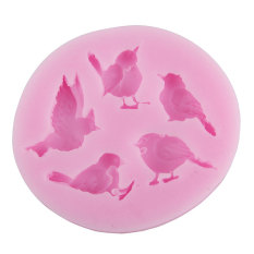 NiceEshop 5 Cavity Bird Shape Party Silicone Cake Molds Decoration Fondant Baking Mold, Pink