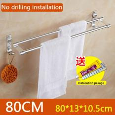 No Drilling Required, 80cm In Length X 13cm In Width, Double Towel Bar Brushed, Bathroom Shelves, Towel Holders Bath, Towel Rack, Bathroom Shelves, Aluminum Bath Wall Shelf Rack Hanging Towel Dual Hanger - Intl