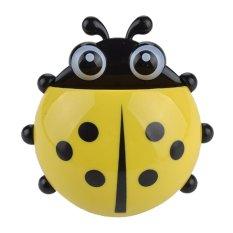 Novel Cute Ladybug Cartoon Wall Sucker Toothbrush Stand Holder Bathroom Set - Yellow (Intl)