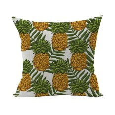 Nunubee Colorful Pattern Cotton Linen Home Square Pillow Decor Throw Pillow Case Sofa Cushion Cover Pineapple - Intl