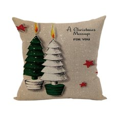 Nunubee Cotton Linen Home Square Pillow Decorative Throw Pillow Case Sofa Cushion Cover Christmas Tree 3