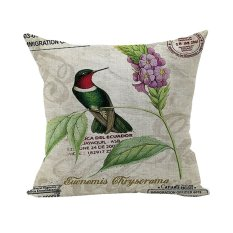 Nunubee Home Pillowcase Cotton Linen Throw Pillow Covers Decorative Cushion Covers 45x45 Colorful Bird With Flower