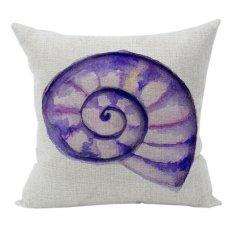 Nunubee Sea Design Cotton Linen Home Square Pillow Decor Throw Pillow Case Sofa Cushion Cover Purple Snail
