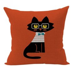 Nunubee Sofa Cotton Linen Home Square Pillow Decorative Throw Pillow Case Cushion Cover Red Cat