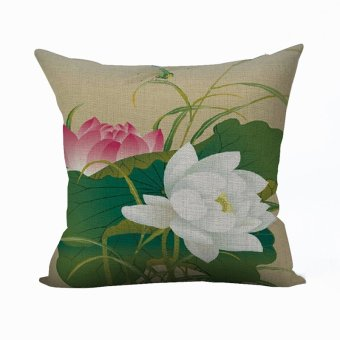Nunubee Vintage Flower Pillow Cases Cotton Linen Cushion Cover Home Pillowcase Lotus Throw Pillow Style 12