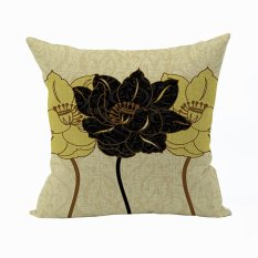 Nunubee Vintage Flower Pillow Cases Cotton Linen Cushion Cover Home Pillowcase Lotus Throw Pillow Style 13
