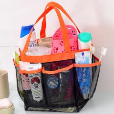 Portable 8 Storage Caddy Shower Mesh Quick Dry Travel Tote Bag Carry Handle Bag (Orange)