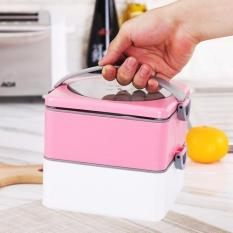 Portable Lunch Box Double-layer Hot Water Heating Dinnerware Food Container Picnic Food Storage Bento1500ml (2 Layer) - Pink - Intl