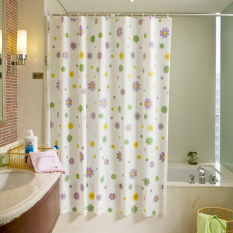 Quality Frosted Plastic Waterproof Mildew Shower Curtain - Purple Flowers (180 * 200cm)