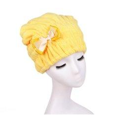 Quick Hair Drying Bath Spa Bowknot Wrap Towel Hat Cap (Yellow)