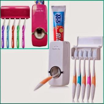 QuincyHome Dispenser Odol TouchMe Otomatis Toothbrush Holder Bundle - Putih (White)