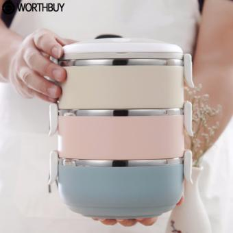 Rantang Makan 3 Susun Stainless Steel/ Lunch Box 3 Layer Stainless Steel - Glossy