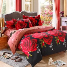 Red Rose Pattern 4Pcs 3D Printed Bedding Set Bedclothes Home Textiles King Queen Size Quilt Cover Bed Sheet 2 Pillowcases (Intl)