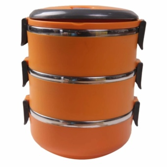 Retail Station - Eco Lunch Box Stainless Steel Rantang 3 Susun - Orange