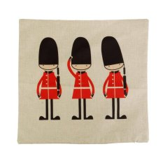 S & F Cartoon England Guard Cotton Linen Throw PillowCase Cushion Cover Sofa Decor