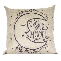 Sanwood Vintage Square Linen Cotton Moon Throw Pillow Cases For Cushion Cover (Intl)