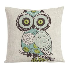 Sanwood Vintage Square Linen Cotton Owl Throw Pillow Cases For Cushion Cover (Intl)