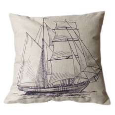 Sanwood Vintage Square Linen Cotton Sailboat Throw Pillow Cases For Cushion Cover (Intl)