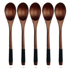 Sendok garpu kayu ramah lingkungan bisa Nanmu Jepang garpu kayu sendok garpu makan Salad teh coklat