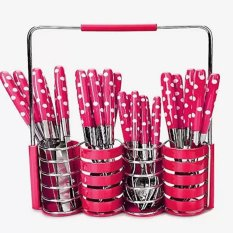 Set Peralatan Makan Sendok Garpu Pisau Set Motif Polkadot Stainless Steel 24 Pcs - Pink