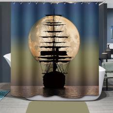 SF Sailboat Printing Bathroom Shower Curtain Waterproof H1532e2 - Intl
