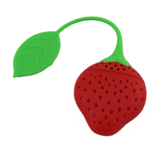 Silicone Strawberry Shape Tea Strainer (Red) (Intl)