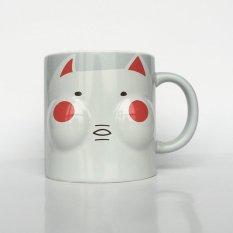 Solid Face Creative Ceramic Coffee Milk Mug Creative Cute Cartoon Drinkware Cup (Grey)