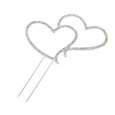 Sparkling Crystal Rhinestones Double Love Heart Shape Wedding Cake Topper Decoration (Silver)