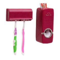 StarHome Dispenser Odol dan Tempat Sikat Gigi - Tempat Pasta Gigi Merah