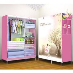 StarHome Lemari Pakaian Multifungsi dengan Tempat Gantungan Baju dan Penutup Debu- Lemari Portable - Pink Motif Love