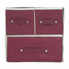 StarHome Rak Kain 3 Sekat- Storage Box - Kotak Serbaguna - Kotak Pakaian - Box Pakaian Portable - Merah Tua