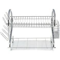 Universal Dish Rack 2 Tier Stainless Steel Dish Drainer / Rak Piring 2 Tingkat